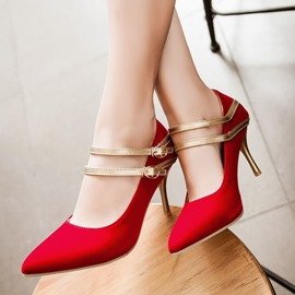 Ericdress Suede Pointed-toe Ankle Strap Pumps