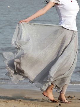 Summer Pure Color Chiffon Maxi Skirt