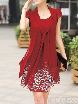 Ericdress Print Short Sleeve Straight Casual Dress