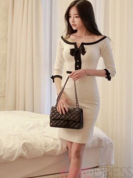 Ericdress Bowknot Patchwork Sheath Dress