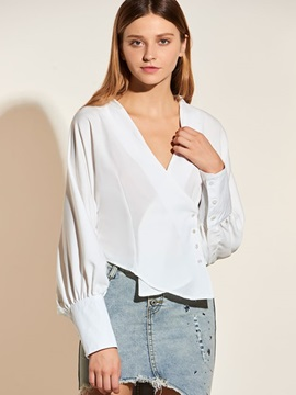Ericdress V-Neck Oblique Button White Blouse
