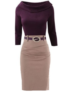 Ericdress Lapel Belt Patchwork Pleated Sheath Dress