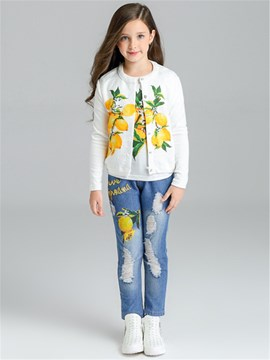 Ericdress Peal Printed Collarless Frayed Destroy Embroidery Girls Outfit