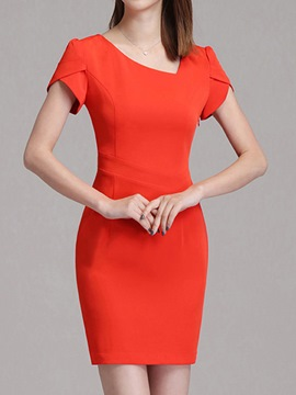 Ericdress Square Neck Stylelines High-Waist Patchwork Bodycon Dress