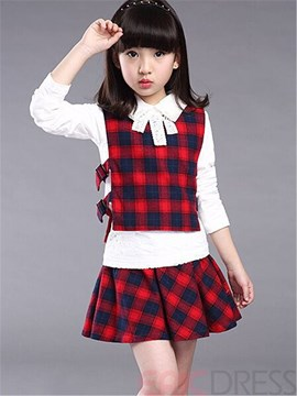 Ericdress Color Block Plaid Girls Outfit