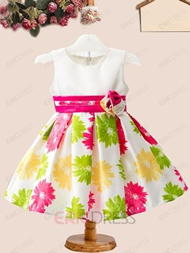 Ericdress Color Block Print Sleeveless Girls Dress