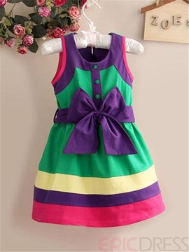 Ericdress Bowknot Color Block Girls Dress