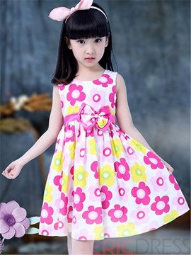Ericdress Print Pleated Girls Dress