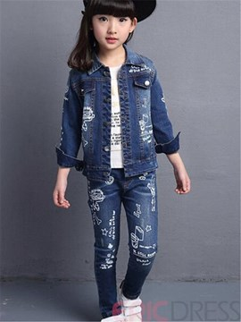 Ericdress Cartoon Denim Girls Outfit