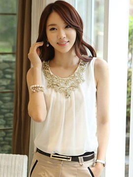 Ericdress Solid Color Sleeveless Chiffon Blouse
