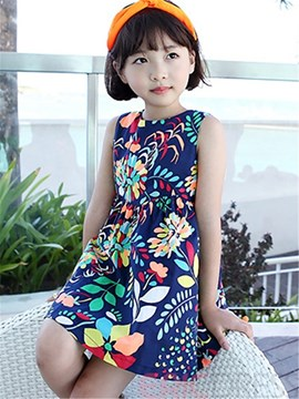 Ericdress Backless Print Sleeveless Girls Dress