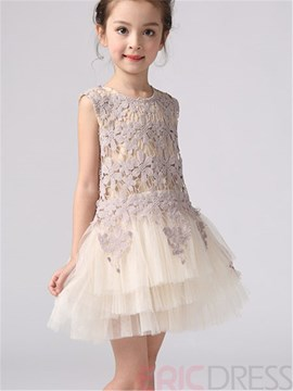 Ericdress Sleeveless Mesh Ball Gown Girls Dress