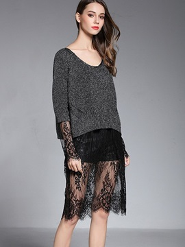 Ericdress Loose Lace Patchwork Knitwear