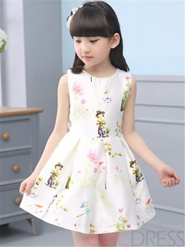Ericdress Cartoon Printed Pleated Sleeveless Girls Outfits