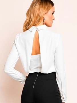 Ericdress Solid Color Backless Slim Blouse