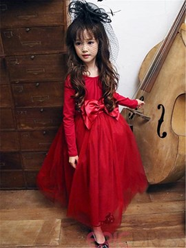 Ericdress Plain Patchwork Mesh Long Sleeve Girls Dress