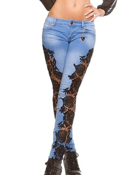 Ericdress Hollow Lace Patchwork Jeans