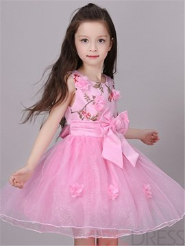 Ericdress Floral Mesh Girls Dress