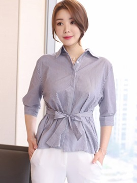 Ericdress Stripped Lace-Up Lady Blouse