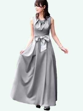 Ericdress Pleated Back Belt Bowknot Patchwork Maxi Dress