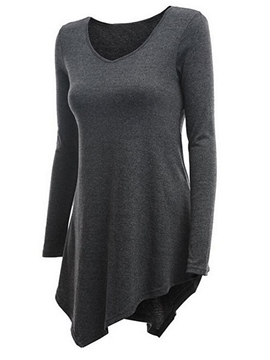 Ericdress Plain Asymmetric T-shirt
