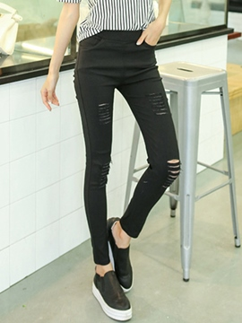 Ericdress Simple Ripped Leggings Pants