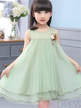 Ericdress Solid Color Falbala Girls Dress