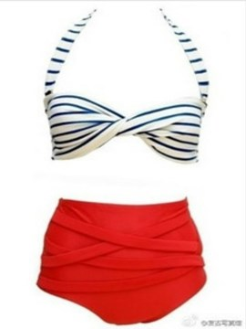 Ericdress Red Striped Swimwear