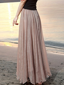 Ericdress Solid Color Pleated Maxi Skirt