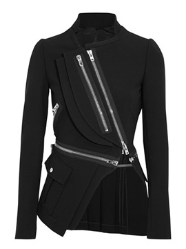 Ericdress Asymmetric Zipper Slim Jacket
