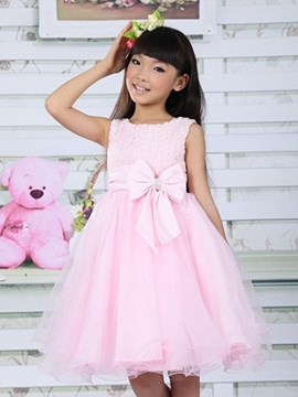 Ericdress Solid Color Bowknot Belt Sleeveless Mesh Girl's Dress