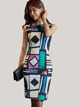 Ericdress Color Block Round Collar Sleeveless Bodycon Dress