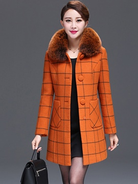 Ericdress Classical Plaid Single-Breasted Coat