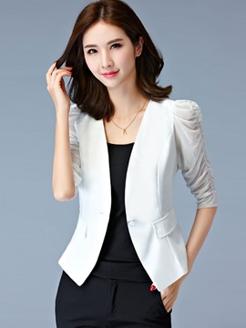 Ericdress Solid Color Pocket Slim Blazer