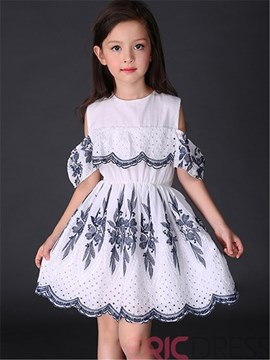 Ericdress Pleated Hollow Girls Dress