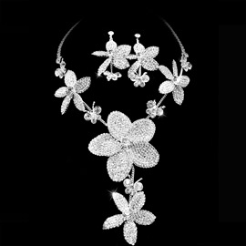 Attractive Clear Crystals Wedding Bridal Jewelry Set-(Including Necklace