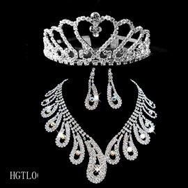 Crystal Wedding Bridal Tiaras & Jewelry Sets-(y compris collier