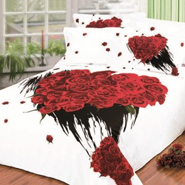 Fantastic Rose Printed 4 Piece King Bed Sheets