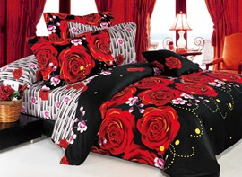AB Sides 4 Piece Bedding with Black and Pink Rose