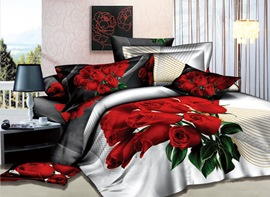 Gorgeous Red Rose Printed 4 Piece Bedding Sets