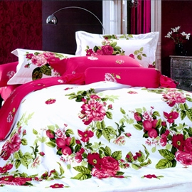 Red Peony With Green Leaves Comforter 4 Piece Bedding Sets