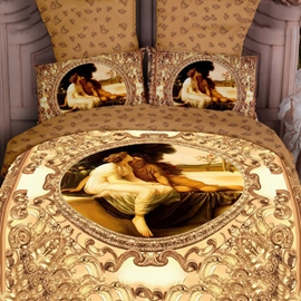 4-Piece Luxury Yellow Famous Painting Print Bedding