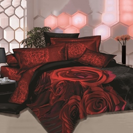 Unique Great Red Rose Printed 4 Piece Bedding Sets