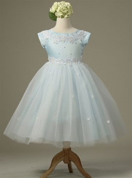 Amazing Ball Gown Tea-length Bateau Short-Sleeve Appliques Flower Girl Dress