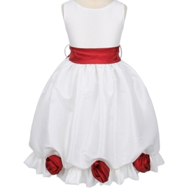 Amazing Ball Gown Round-neck Tea-length Flowers & Sash Embellishing Flower Girl Dress