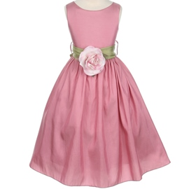 Amazing Round-Neck A-line Tea-Length Flower Embellishing Flower Girl Dress