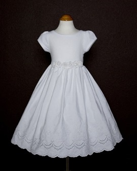Attractive A-line Ankle-length Short-Sleeve Embroidery Flower Girl Dress