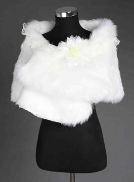 Floral Edges Faux Fur Wedding Shawl