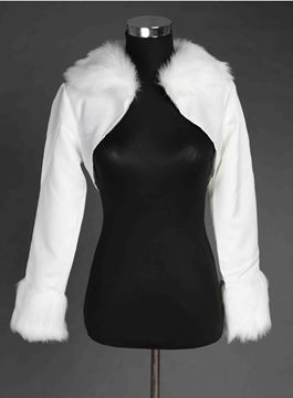 Style Long-Sleeve Satin Faux Fur Wedding Jacket