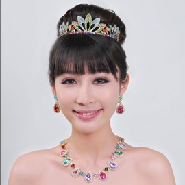 Glittering Flower Shaped Alloy with Rhinestone Wedding Jewelry Set(Including Tiara